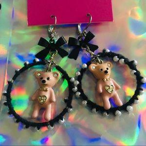 Pink bow hoop black bow earrings Betsey Johnson